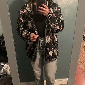 H&M Silk Flower Bomber Jacket